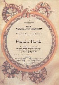Prix Spécial de Poésie Étrangère de l'Accademia Internazionale Il Convivio